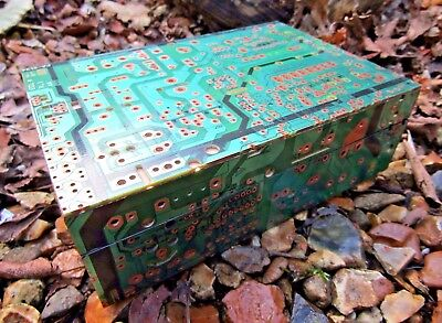 Hand Carved Made Wooden Recycled Circuit Board Jewellery Box Chest Case Holder
