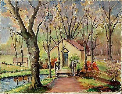 20th Century Oil Painting of House by River in Forrest signed Louis Wabbouak