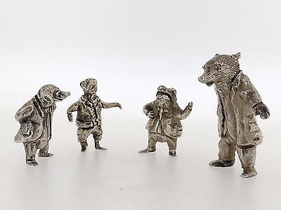 4 Wind in the Willows Lanier Sterling Silver Figures Badger Ratty Toad Mole SL