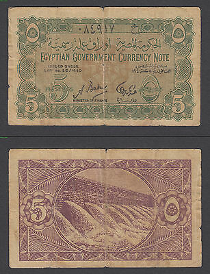 Egypt 5 Piastres 1940 (VG+) Condition Banknote P-163 Egyptian Currency Note