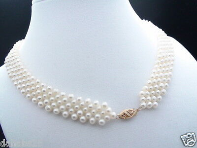 Stunning looks Antique Real Pearl 14K Solid Gold Clasp Necklace 16 Inch