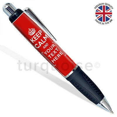 Keep Calm And Carry On Personalised Custom Stationary Photo Pen l Black
