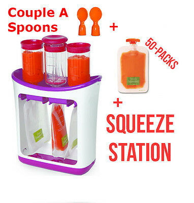 Infantino Squeeze Station + Freezer Sleeve + 50 Pack Pouches Puree Baby Food NEW