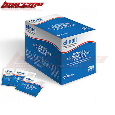 Clinell Alcoholic 2% Chlorhexidine Skin Wipes Single Sachets Various Packs