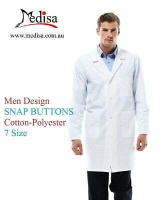MEN LAB COAT Medical Nurse Vet Dentist Doctor, TWILL WHITE LABCOAT, 7 Sizes