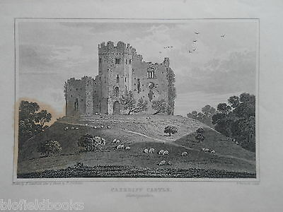 Original Antiquarian Welsh Engraving of Cardiff Castle, Glam - c1830 - Wales