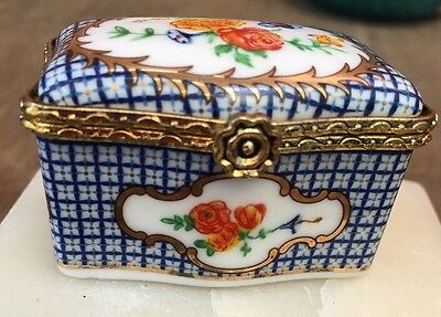 Del Prado Collection Porcelain Hand Painted Miniature Trinket Boxes Hinged Lid