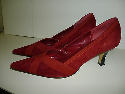 Ladies shoes red suede Heyraud (French) Size 38 Great condition