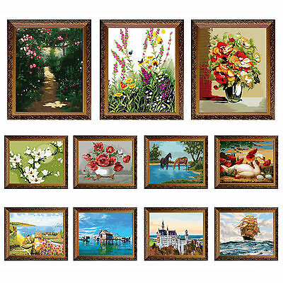 """16""""x20"""" (NO FRAME) DIY Paint By Number Kit On Canvas -- 11 Designs Oil Painting"""