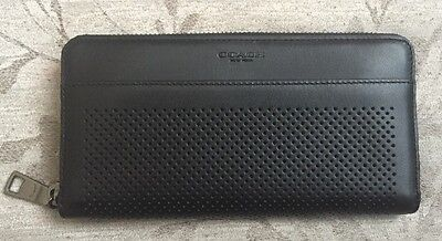 COACH Men's Accordion Perforated Leather Wallet In Black F75222