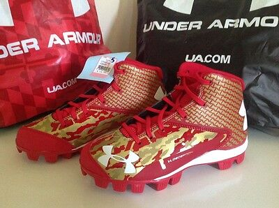 NWT Under Armour Deception Mid RM Boys Cleats Size 5 MSRP $49.99