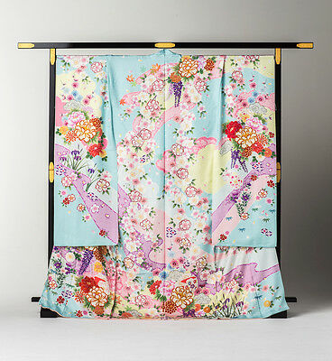 Japanese Kimono Furisode Flower and the Child of the Deer