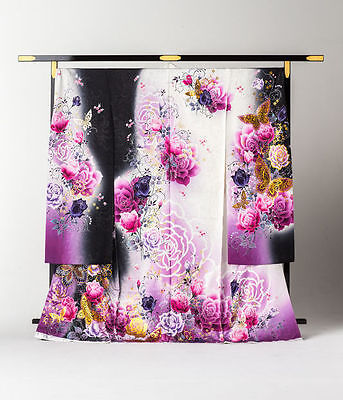 Japanese Kimono Furisode Rose and Butterfly (Black and Purple)