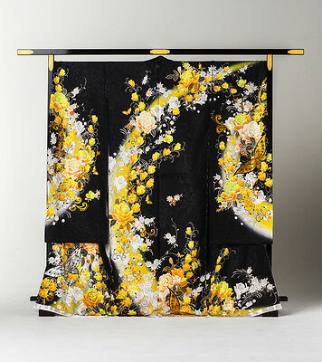 Japanese Kimono Furisode Butterfly and Rose Floating (Black and Yellow)