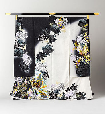 Japanese Kimono Furisode Rose and Butterfly (Black and White)