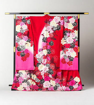 Japanese Kimono Furisode 3-colored Rose (Red Peach) Kyoto
