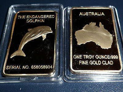 1 Lingot 1 Once Dolphin Plaque Or 999