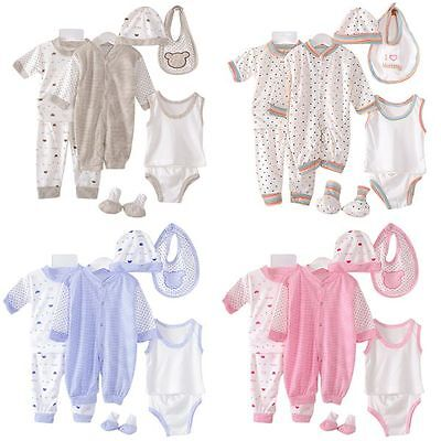 8PCS Newborn Baby Clothes Set Girl Boy Romper Jumpsuit Bodysuit Hat Bibs Outfits
