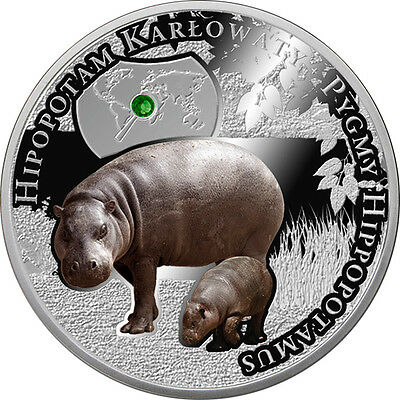 Niue 2016 1$ Pigmy Hippopotamus Endangered Animal Species Proof Silver Coin