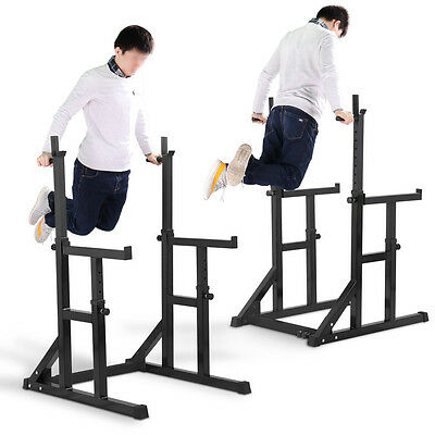 Adjustable Squat Rack & Dip Stand Barbell/Weight Gym Bench Power/Lifting Black