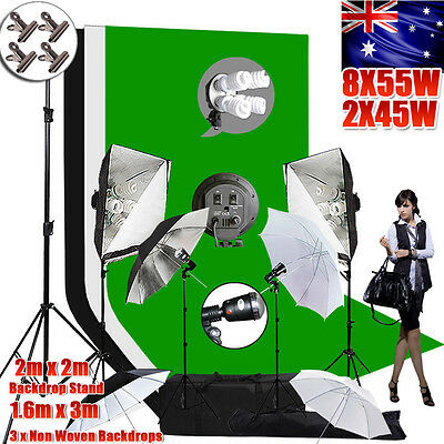 Photography Studio Softbox Light Kit Flash Umbrella Lighting Backdrop Stand Set