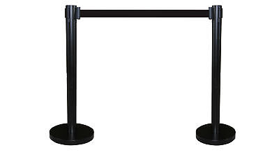 "Crowd Control Stanchion Queue Barrier Post BLACK Strap 78"" Retractable 12004-10"