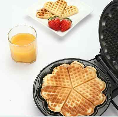New Love Shaped Food Breakfast Treats Cooking Baking Nonstick Black Waffle Maker