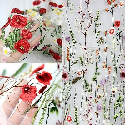 1 Meter 39'' Wide Floral Lace Tulle Fabric Embroidery Mesh Wedding Craft DIY