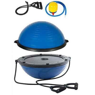 """New 23"""" Physical Exercise Fitness Yoga Balance Trainer Half Ball w/Pump Blue"""