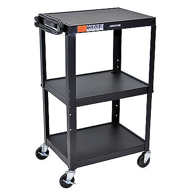 "Offex AVJ42 - 42"" Adjustable Height Steel A/V Cart - Three Shelves"