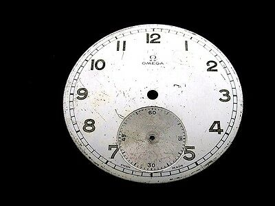 OMEGA #2, ORIGINAL METAL DIAL FOR WATCHES, MILITARY STYLE, 1930's