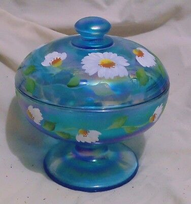 "Fenton Celeste Blue ""dancing Daisies"" Hand Painted Covered Candy Signed Davis"