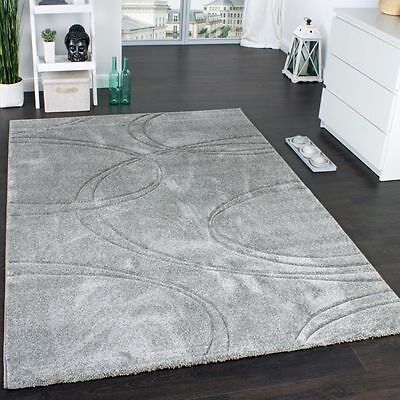Grey Carpet Rug Modern Design Contour Cut Stylish Small Large Rugs Soft Pile New