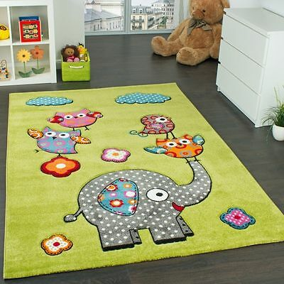 Kids Rugs Bedroom Carpet  Animals Elephant Green Childrens Play Mat Small Large