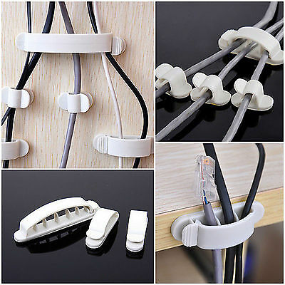 10Pcs/set White Cord Clips Desk Tidy Line Wire USB Charger Cable Holder Tool