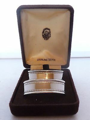 Boxed Pair Solid Hallmarked Solid Silver Napkin Rings London 1984