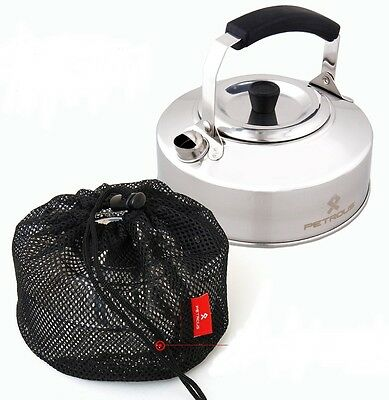 Portable Outdoor Camping Pot Water Kettle Teapot Stainless 1L & Mesh Bag - Korea