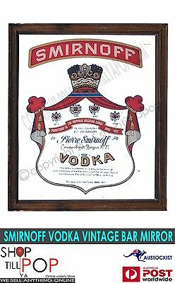 "Smirnoff Vodka Huge Vintage Bar Mirror 1960's Exc' Co' 23x19"" Russia man cave"