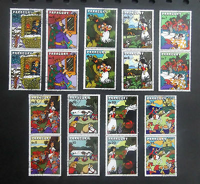 Paraguay-1978-Fairy Tale/Snow White & The 7 Dwarfs-Full set of Joined pairs-Used
