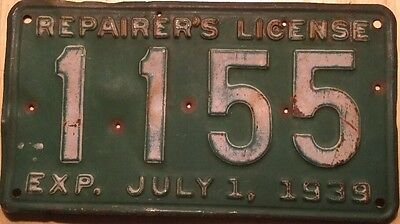 Vintage 1939 Repairers License Plate Rhode Island # 1155 Exp. July, 1 1939