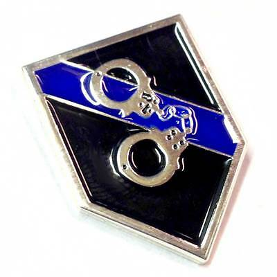 Thin Blue Line Handcuffs Law Enforcement Police Sheriff Lapel Pin
