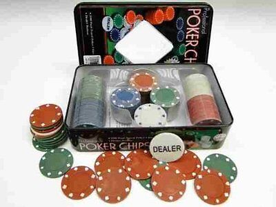 Set 100 pezzi POKER FICHES FISH CHIPS con scatola TEXAS HOLD'EM