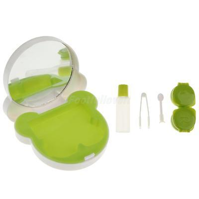 Cartoon Portable Contact Lens Case Travel Storage Kit Holder Container Green
