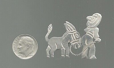 Vintage Mexico Sterling Silver Brooch - Donkey & Man