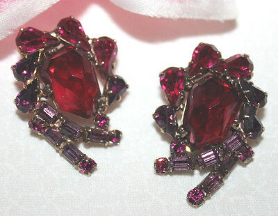 Rare And Striking Signed Weiss Clip On Earrings-Exceptional Color And Condition