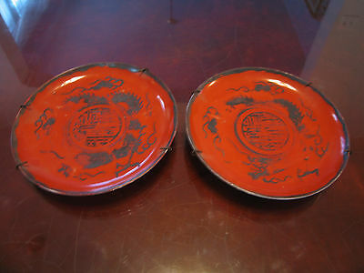 Antique Signed Japanese Meiji Period Eiraku Porcelain Pair of Plates