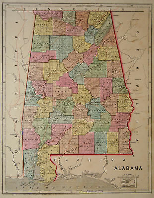 1856 Genuine Antique map of Alabama. by C. Morse