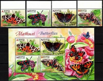 FAUNA: Insects / Butterflies. Flowers. Set and Souv. sheet. BELARUS 2016 (**)