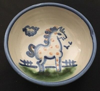 """MA Hadley Pottery Country Scene Horse Cereal Bowl 5 1/2"""" Blue"""