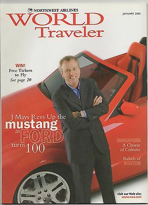 Northwest Airlines magazine Jan 2003 Ford Mustang cover